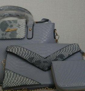 Комплект сумок (большая+клатч+кошелёк) НОВЫЕ.
