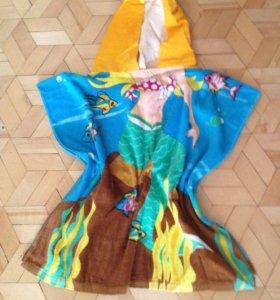 Детское полотенечко-пончо пляжное