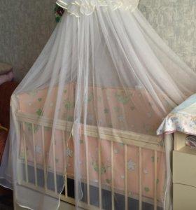 Балдахин на детскую кроватку + держатель