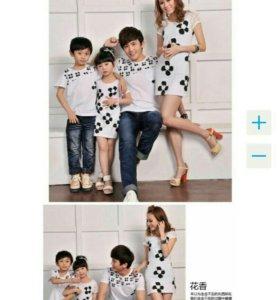 Family look, платья для мамы и дочки,футболка папы