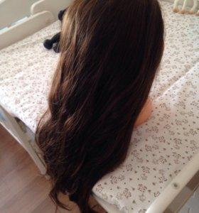 Голова манекен 50-60см+штатив натур. волосы