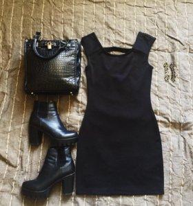 Чёрный лук 🖤 платье, ботильоны, сумка, серьги
