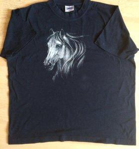 """Темно-синяя футболка """"Лошадь"""" р.46-48"""