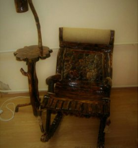 Кресло качалка и столик абажур