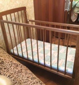Детская кроватка+матрас на кокосовой стружке
