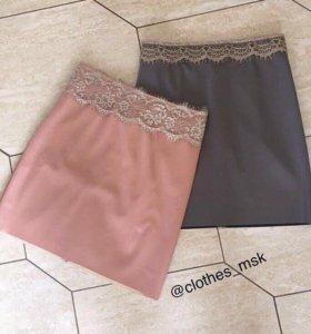 Кожаная мини юбка ( серая, персик) кружевная