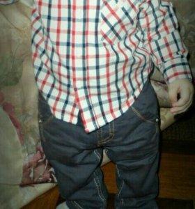 Детские джинсы рубашка стильная красивая