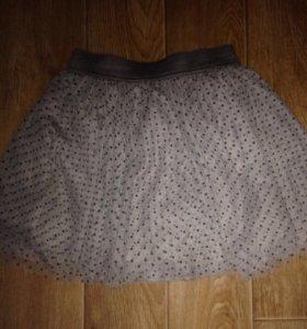 Пышная серая юбка