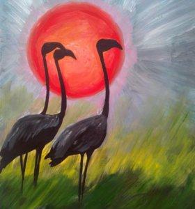 Рисунок. Фламинго на закате.