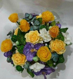 Интерьерный букет из мыла и цветов ручной работы