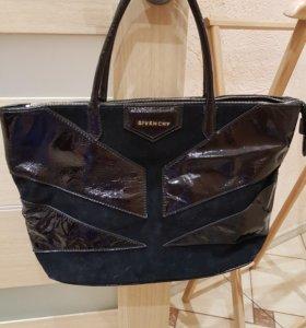 сумка натуральный замш и лак кожа