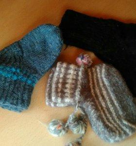Детские вязаные носочки. Шерсть