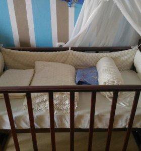 Кроватка + матрас + бортики + балдахин