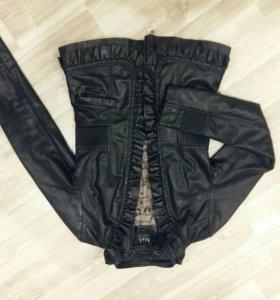 Куртка кожзам чёрная