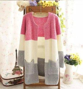 Кардиган кофта пуловер белый серый розовый