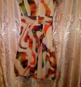 Платье в горошек, кремового цвета,балеро,юбка.