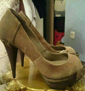 Туфли, Zara, нат. Замща, 36, на каблуке