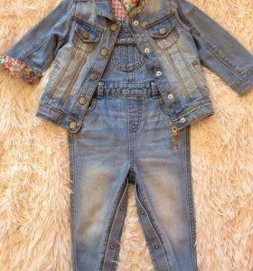 Джинсовый комбинезон + джинсовка Mothercare