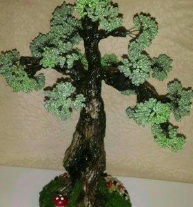 Дриада и деревья из бисера