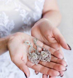 Серьги вечерние свадебные