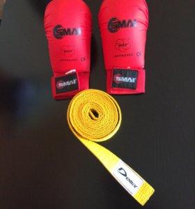 Перчатки для каратэ и пояс