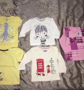 Новые кофточки и футболки р-р 68-74