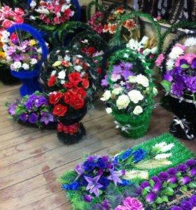Венки,цветы,корзины.