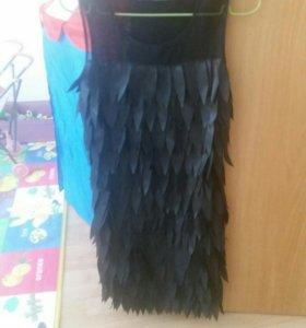 Платье черное с листиками Befree XS