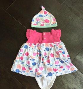 Платье-боди Mothercare+2 шапочки