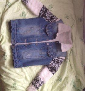 Теплая джинсовка, состояние отличное