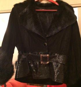 Куртка, натуральный мех, натуральная замша
