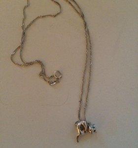 Серебряная цепочка с подвеской- котиком