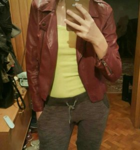 Кожаная укороченная куртка Mango