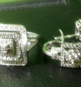 Комплект белое золото 585 бриллианты 1,1Кт 10гр