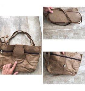 🤗Новая бежевая кожаная сумка