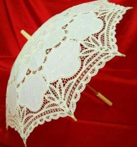 Свадебный кружевной зонтик