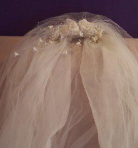 Супер свадебное платье! Цвет беж, размер 42_46