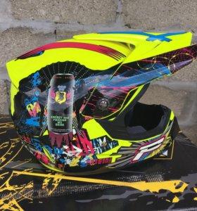 Шлем кроссовый с очками НОВЫЙ