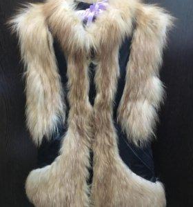 Кожаный жилет из лисы