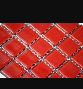 Мозайка стеклянная,красная.300*300