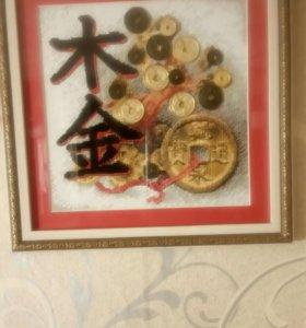 Вышивка мулине и металические монеты