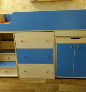 Кровать-чердак Малыш голубой