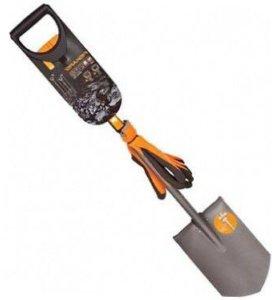 Телескопическая лопата штыковая Fiskars + перчатки