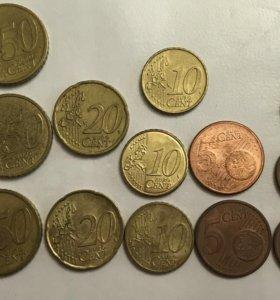 Монеты, центы, евро
