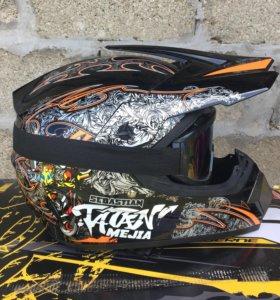 Кроссовый шлем с очками НОВЫЙ