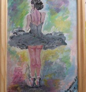 Картина акварелью Балерина