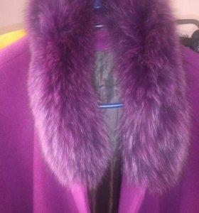 Пальто, Пончо 52-58, кашемир, песец в идеале