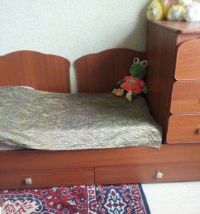 Кравать детская с шкафчиком