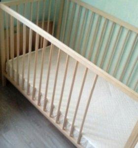 Детская кроватка IKEA + кокосовый матрас
