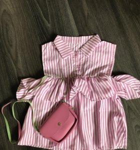Блузка розовый принт